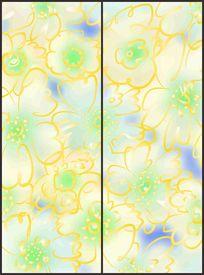 淡雅花朵线条花纹移门图案