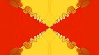 红黄线条小圆圈隧道放射收缩的视频素材