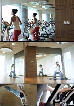健身房美女健身瑜伽视频