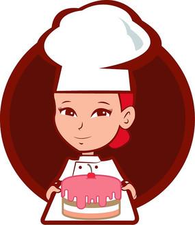 卡通女孩蛋糕店LOGO