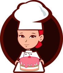 卡通女孩蛋糕店LOGO AI