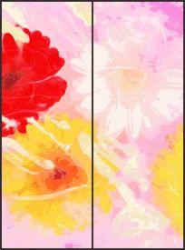 可爱抽象花朵花纹移门图案