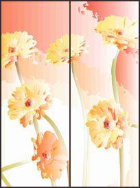 可爱折枝太阳花花纹移门图案