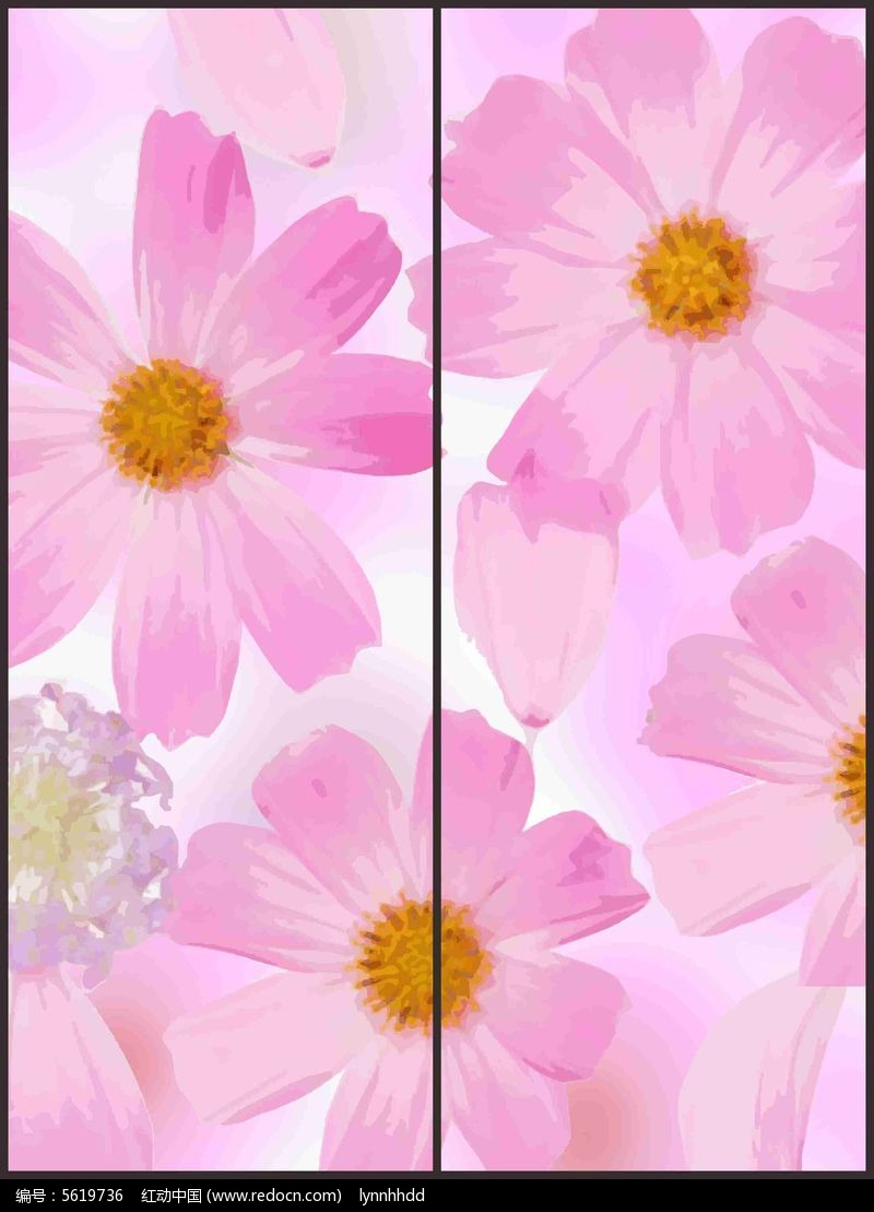 现代可爱花朵花纹移门图案