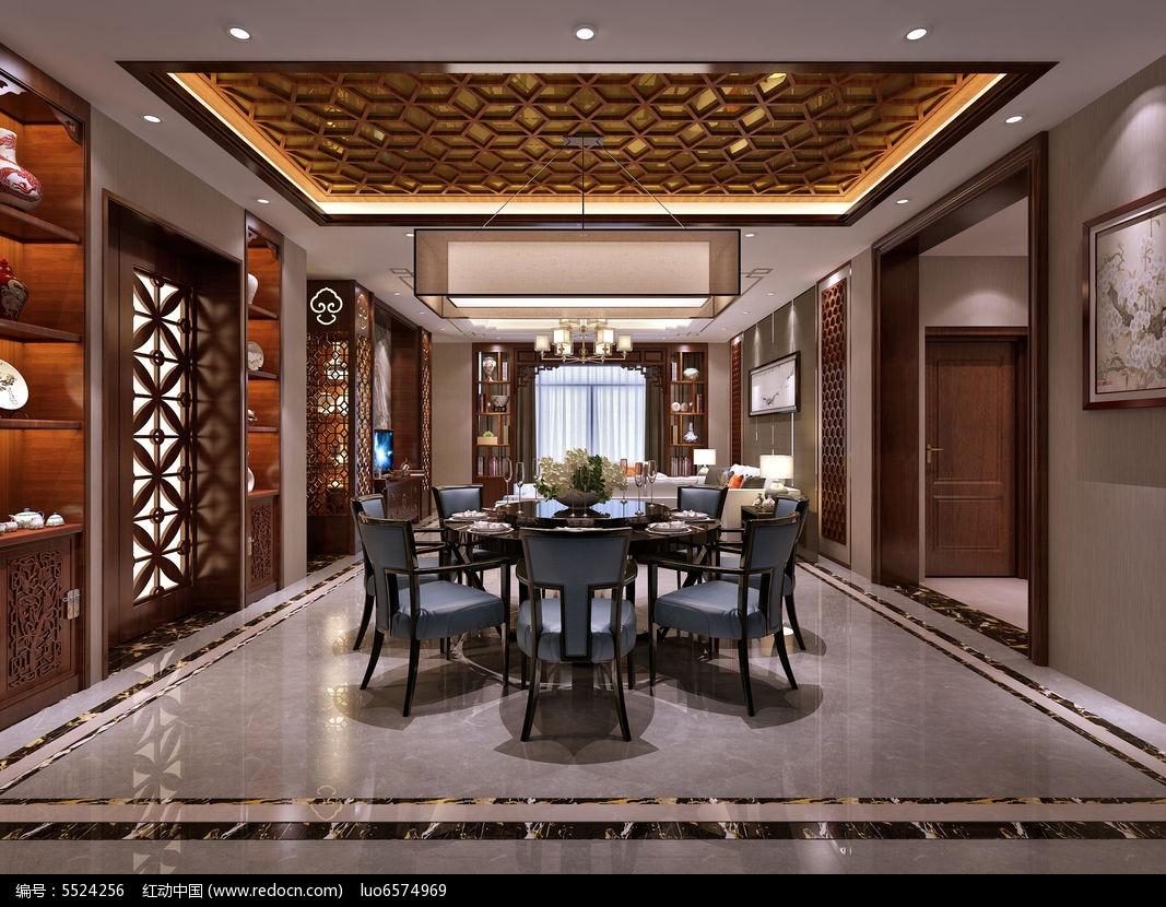 新中式别墅客厅3d模型3dmax素材下载