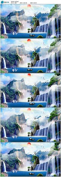 中国风唯美仙境风景动画led视频