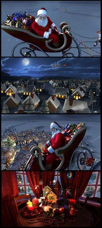 创意圣诞老人送礼物视频