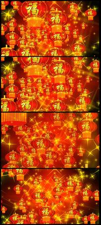 猴年春晚春节喜庆福字灯笼高清视频