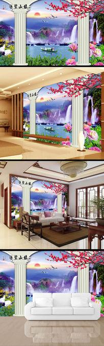 3D立体中式山水画中国风背景墙
