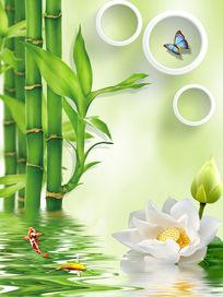 3D立体竹子背景墙