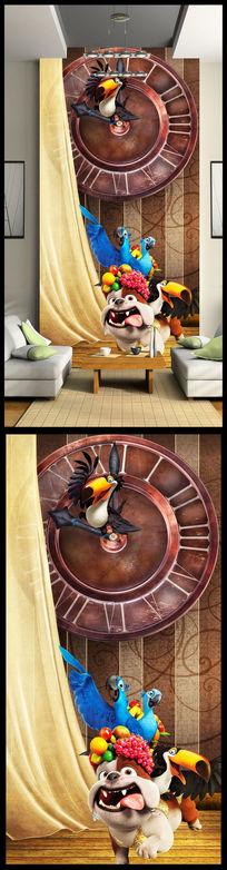 3d立体时钟动物玄关设计