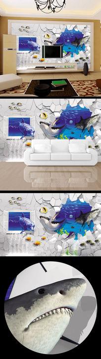 3d立体鲨鱼大白鲨背景墙