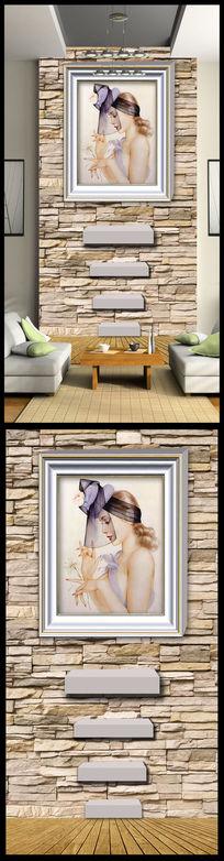 挂画油画美女玄关背景墙