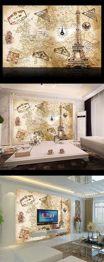 欧式地图复古电视背景墙设计