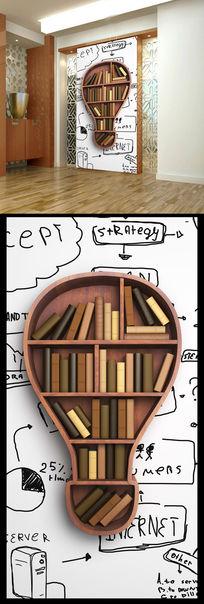 书架书籍3d立体玄关设计