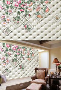 3D软包手绘蔷薇花电视背景墙 PSD