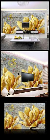 古典砖墙玉兰背景墙