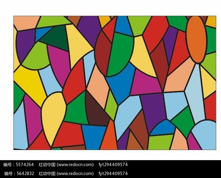 教堂彩玻璃玻璃彩绘长方形彩色色块户外幕墙cdr素材