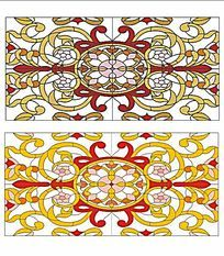 教堂彩玻璃玻璃彩绘长方形欧式花纹