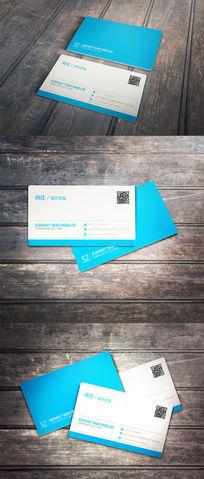 蓝色线条简约二维码名片设计