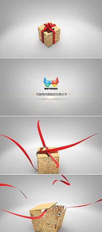 礼盒打开logo标志展示ae模板