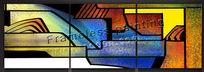 色彩鲜明的抽象无框画设计