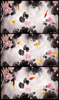 中国水墨风荷花鱼视频