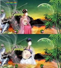 古典美女弹奏吉它背景视频