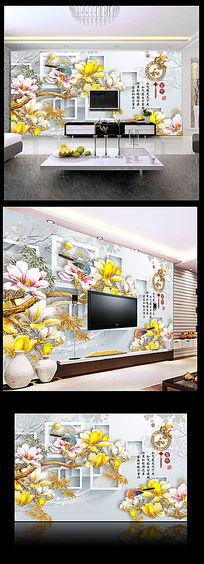 家和富贵玉雕玉兰花电视背景墙
