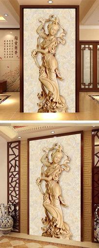 美女西施木雕浮雕玄关设计