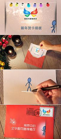 手绘卡通小人新年贺卡ae模板