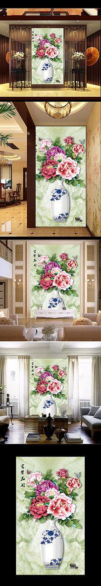手绘牡丹花瓶背景墙