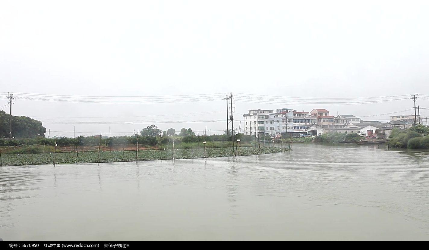 素材/湿地实拍素材建筑河道阴雨天 植物 农业实拍素材