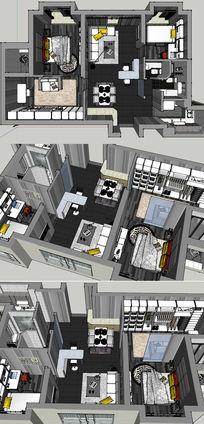 完整现代室内家装草图大师SU模型