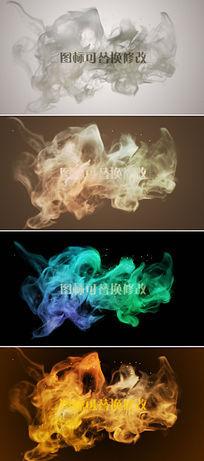 五款烟雾粒子logo演绎展示ae模板