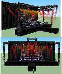 舞台舞美背景设计SU草图大师skp模型