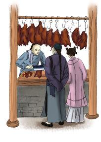 原创分层手绘烤鸭插画设计