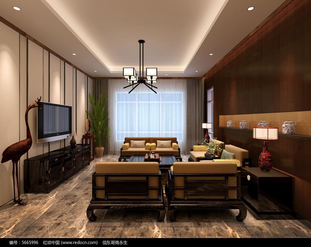 中式别墅电视背景墙3d模型