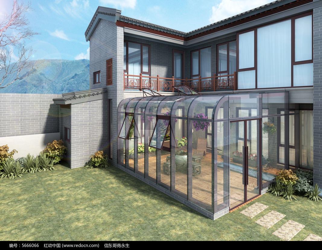 中式别墅阳光房3d模型下载别墅区臣图片