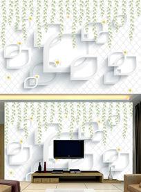 3D文艺手绘花藤电视背景墙