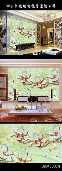 3D玉兰琉璃电视背景