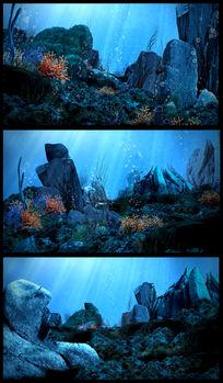 海底世界美丽珊瑚鱼群视频