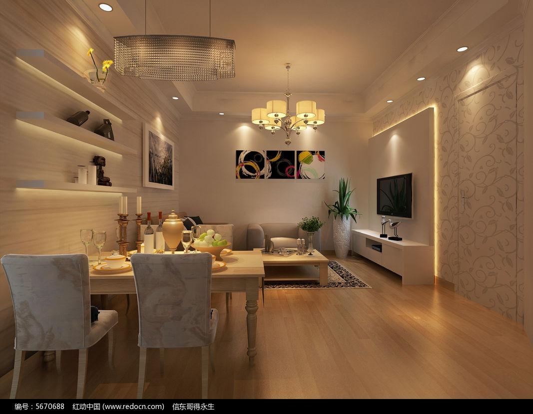 简约现代客厅3d模型下载图片