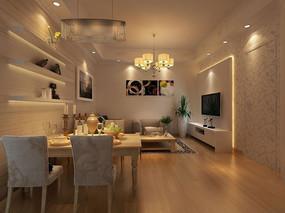 简约现代客厅3d模型下载