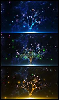 蓝色唯美梦幻树LED背景视频 mov