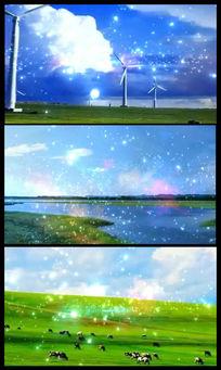 蓝天绿地草原风景视频