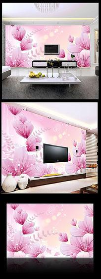 梦幻粉色花卉电视背景墙
