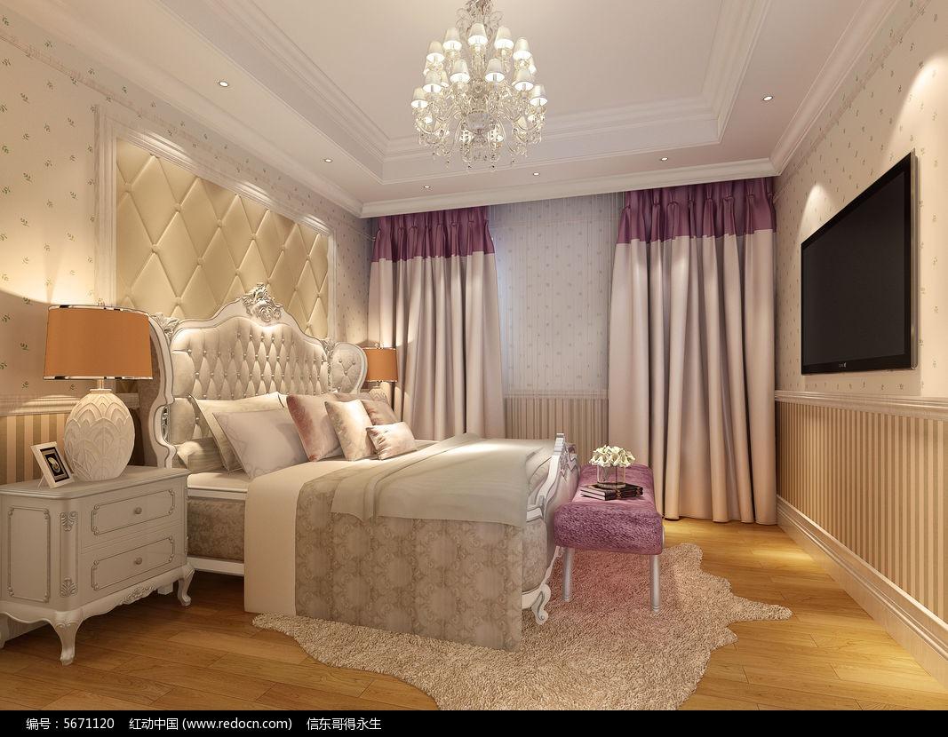 欧式卧室3d模型 欧式软包背景墙3d模型