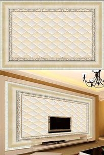 欧式软包吊顶电视背景墙
