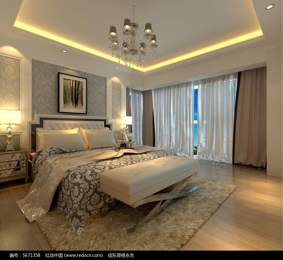 欧式卧室3d模型 欧式护墙板3d模型
